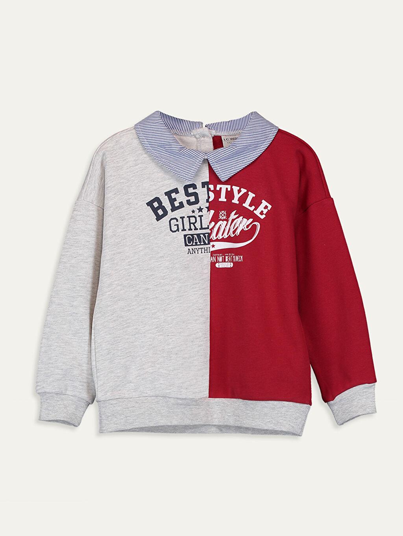 Gri Kız Çocuk Baskılı Sweatshirt 9WM617Z4 LC Waikiki