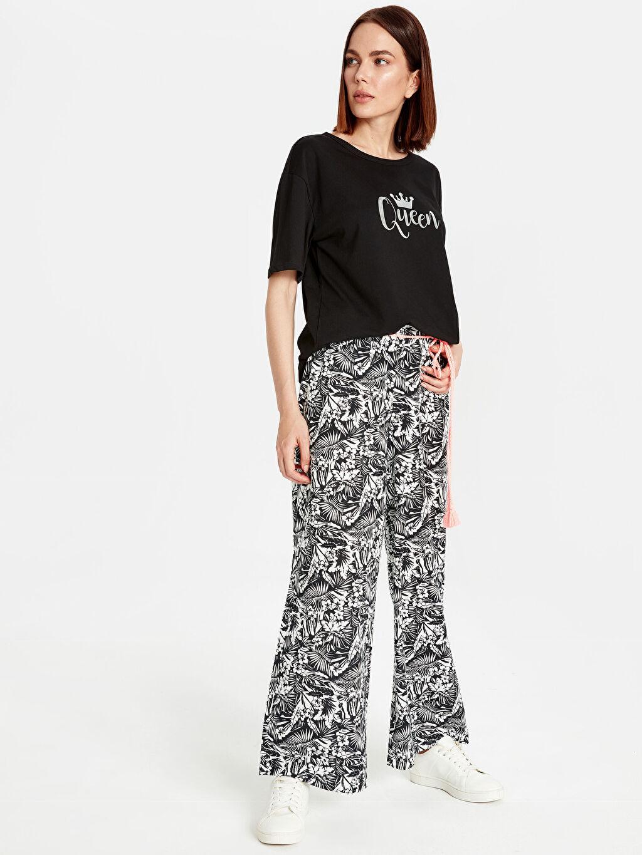 %100 Pamuk %100 Pamuk Normal Bel Bol Geniş Paça Lastikli Bel Pantolon Kuşaklı Desenli Palazzo Pantolon