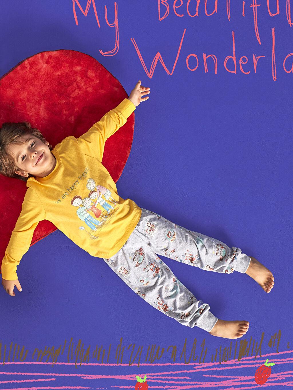 Gri Erkek Çocuk Baskılı Uzun Kollu Pijama Takımı 9WM632Z4 LC Waikiki