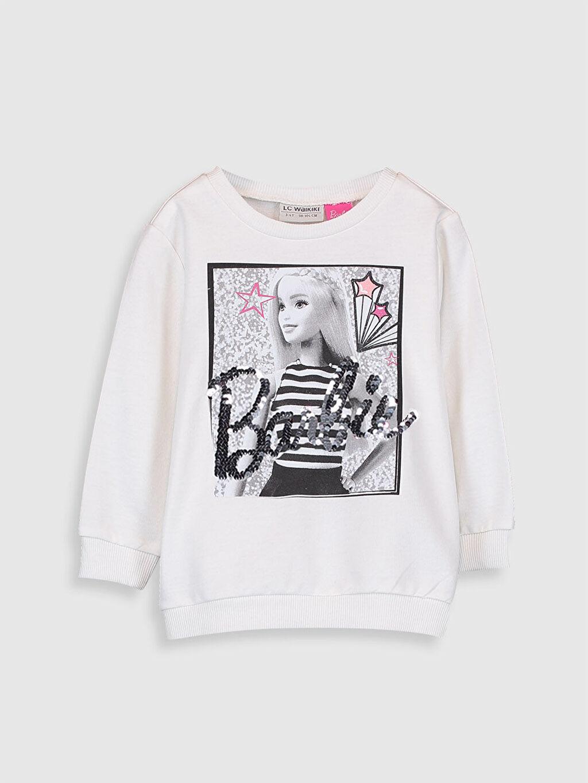 %70 Pamuk %30 Polyester  Kız Çocuk Barbie Baskılı Sweatshirt