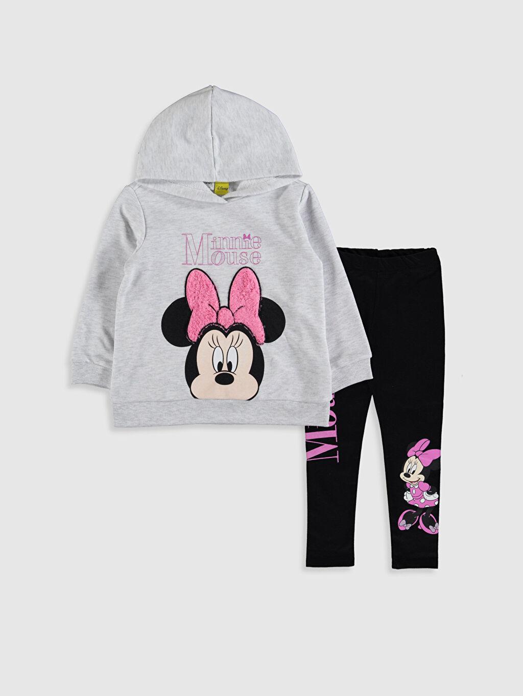 Gri Kız Çocuk Minnie Mouse Baskılı Sweatshirt ve Tayt 9WM978Z4 LC Waikiki