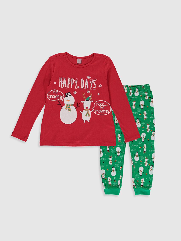 Kırmızı Kız Çocuk Baskılı Pamuklu Pijama Takımı 9WN081Z4 LC Waikiki