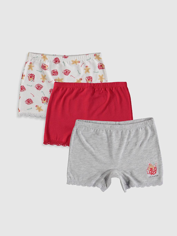 Kırmızı Kız Çocuk Pamuklu Boxer 3'lü 9WN317Z4 LC Waikiki