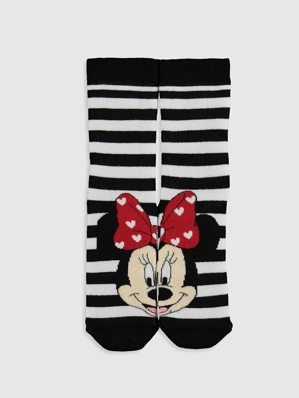 %84 Pamuk %15 Poliamid %1 Elastan  Kız Çocuk Minnie Mouse Havlu Soket Çorap 2'li
