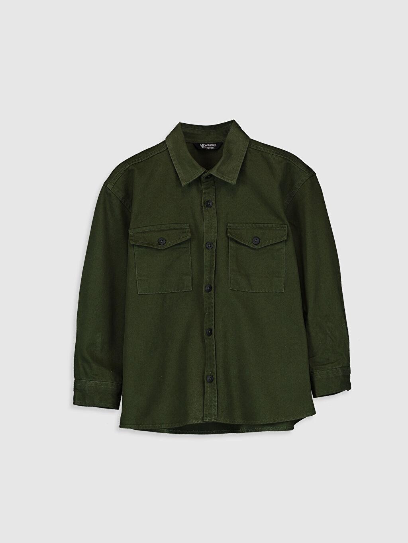 Yeşil Erkek Çocuk Pamuklu Uzun Kollu Gömlek 9WN459Z4 LC Waikiki