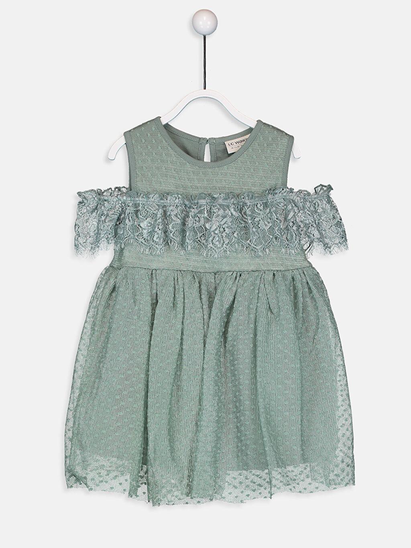 Yeşil Kız Bebek Dantelli Elbise 9WN632Z4 LC Waikiki
