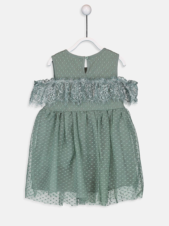 %100 Polyester %100 Pamuk Diz Üstü Desenli Kız Bebek Dantelli Elbise