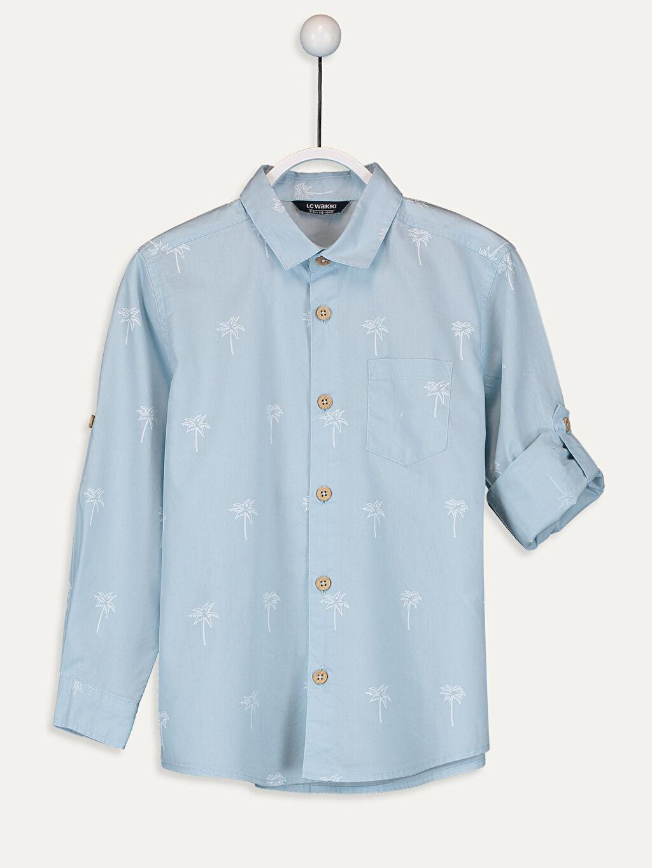 Beyaz Erkek Çocuk Palmiye Desenli Pamuklu Gömlek 9WN910Z4 LC Waikiki