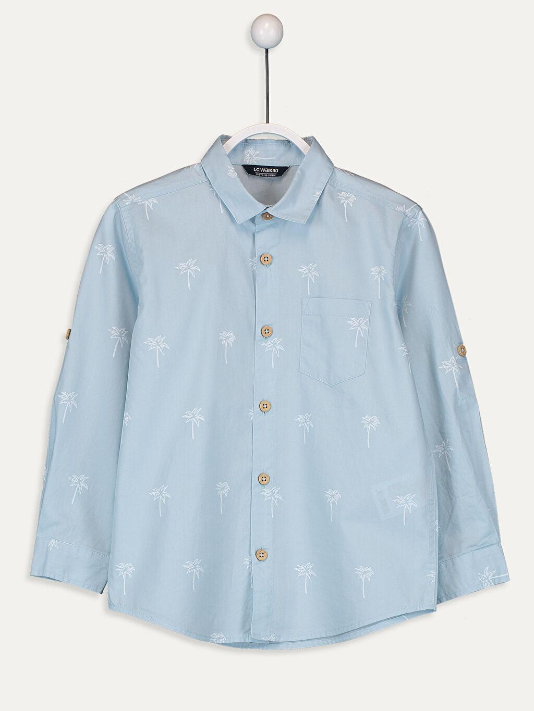 %100 Pamuk Desenli Standart Uzun Kol Erkek Çocuk Palmiye Desenli Pamuklu Gömlek