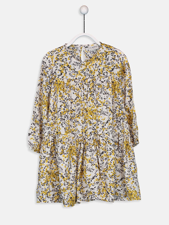 Beyaz Kız Çocuk Çiçekli Viskon Elbise 9WN929Z4 LC Waikiki