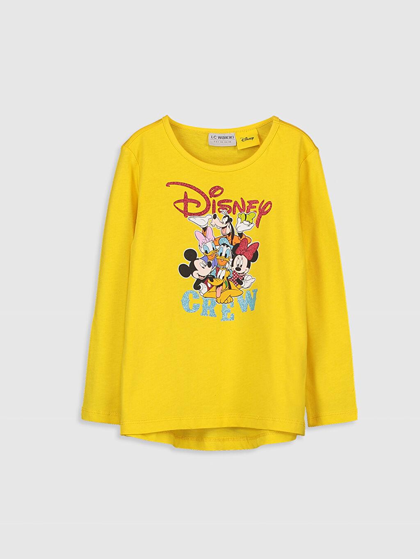 Sarı Kız Çocuk Disney Lisanslı Pamuklu Tişört 9WO146Z4 LC Waikiki