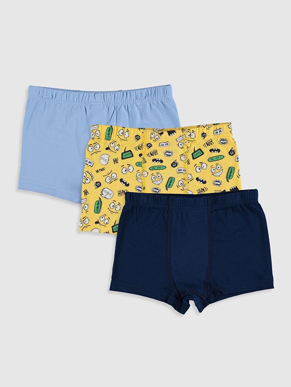 Sarı Erkek Çocuk Pamuklu Boxer 3'lü 9WO239Z4 LC Waikiki