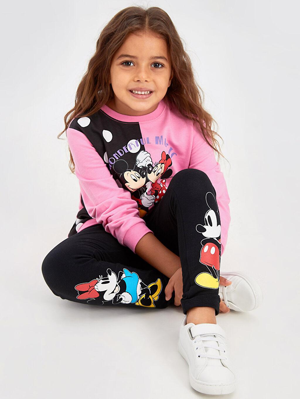 Kız Çocuk Kız Çocuk Minnie Mickey Mouse Baskılı Sweatshirt