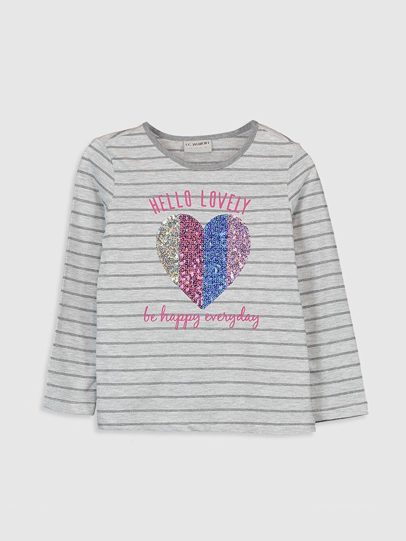 Gri Kız Çocuk Pul İşlemeli Çizgili Tişört 9WO605Z4 LC Waikiki