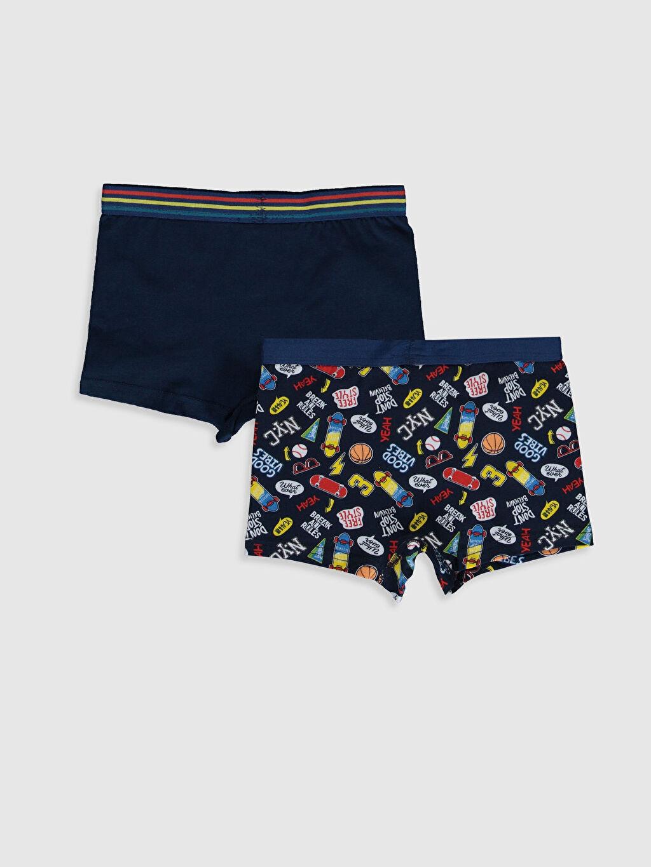 %95 Pamuk %5 Elastan Standart İç Giyim Alt Erkek Çocuk Pamuklu Boxer 2'li