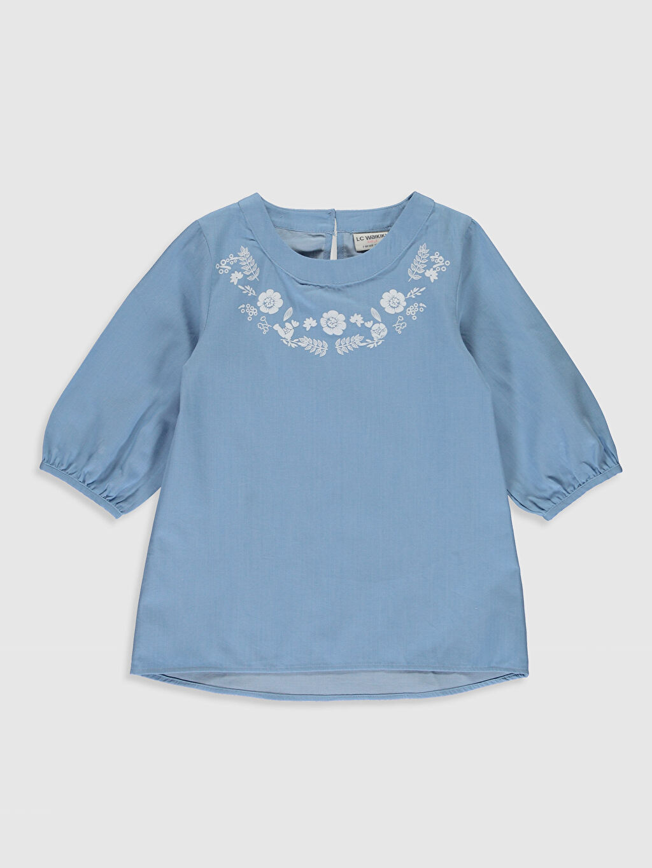 Mavi Kız Çocuk Çiçekli Poplin Bluz 9WP255Z4 LC Waikiki