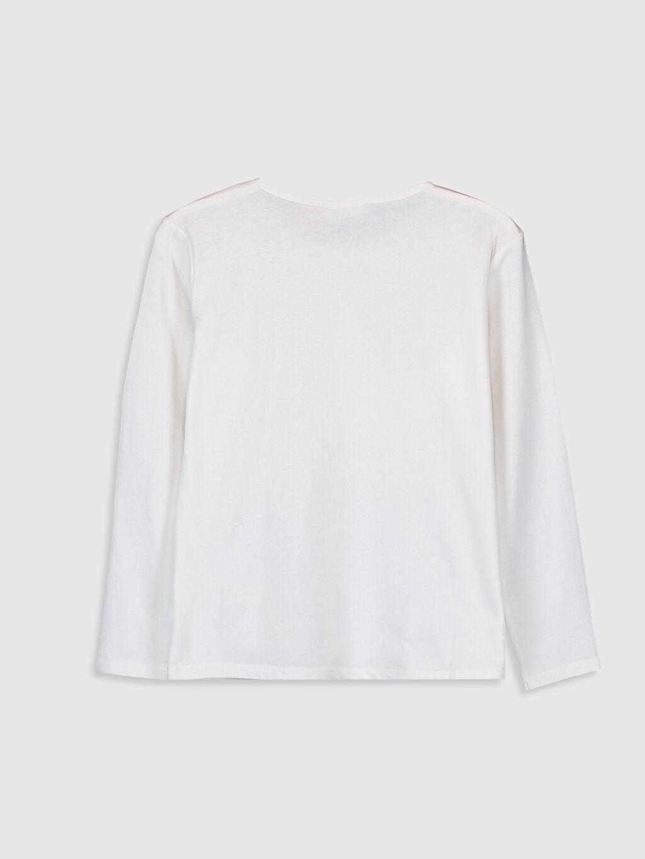 %100 Pamuk Standart Baskılı Uzun Kol Tişört Bisiklet Yaka Kız Çocuk Sindirella Baskılı Pamuklu Tişört