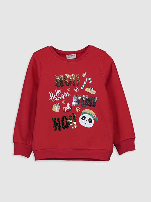 Kırmızı Kız Çocuk Baskılı Pul İşlemeli Sweatshirt 9WP491Z4 LC Waikiki
