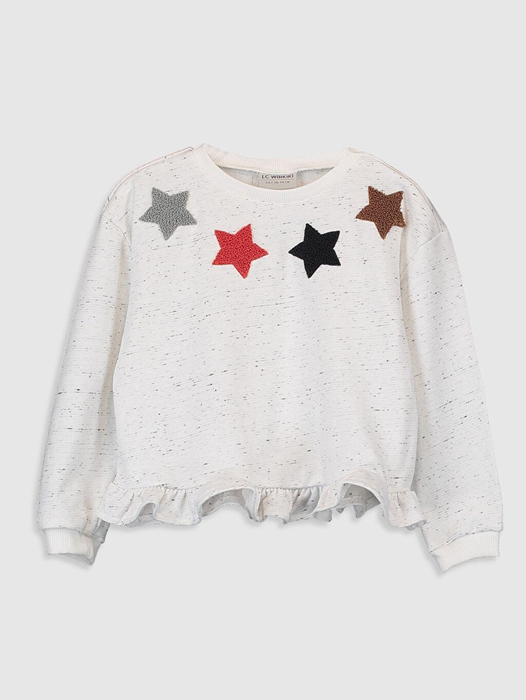 Ekru Kız Çocuk Nakışlı Fırfırlı Sweatshirt 9WP511Z4 LC Waikiki