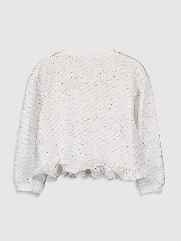 %66 Pamuk %34 Polyester  Kız Çocuk Nakışlı Fırfırlı Sweatshirt