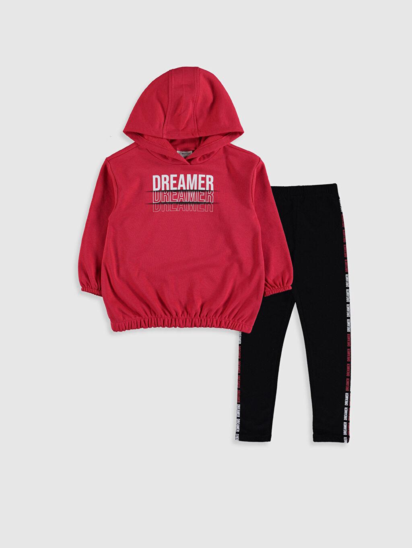 Kırmızı Kız Çocuk Kapüşonlu Sweatshirt ve Tayt 9WQ239Z4 LC Waikiki