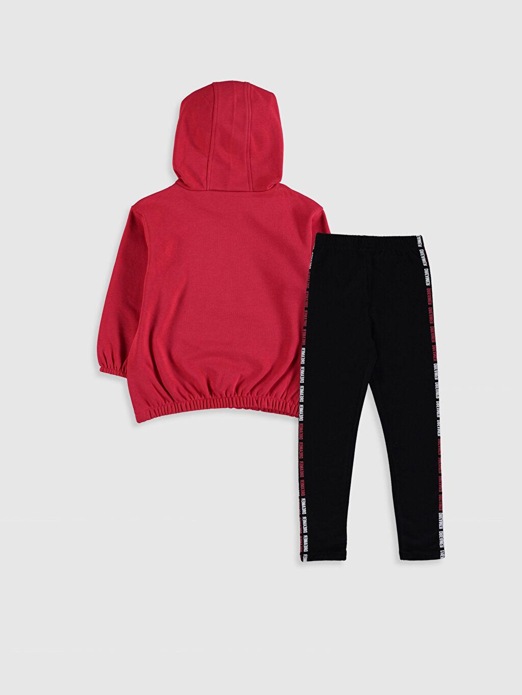 %70 Pamuk %30 Polyester  Kız Çocuk Kapüşonlu Sweatshirt ve Tayt