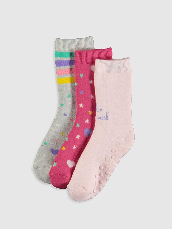 Pembe Kız Çocuk Soket Havlu Çorap 3'lü 9WQ510Z4 LC Waikiki