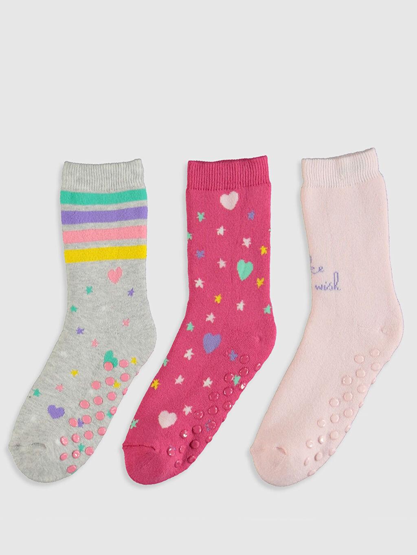 %83 Pamuk %16 Poliamid %1 Elastan  Kız Çocuk Soket Havlu Çorap 3'lü