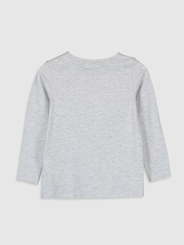 %64 Pamuk %36 Polyester Standart Baskılı Tişört Bisiklet Yaka Uzun Kol Kız Çocuk Pul İşlemeli Pamuklu Tişört