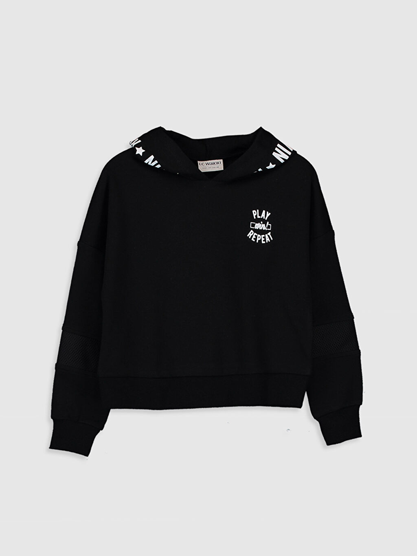 Siyah Kız Çocuk Kapüşonlu Sweatshirt 9WR041Z4 LC Waikiki