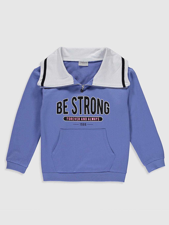 Mavi Kız Çocuk Baskılı Sweatshirt 9WR047Z4 LC Waikiki