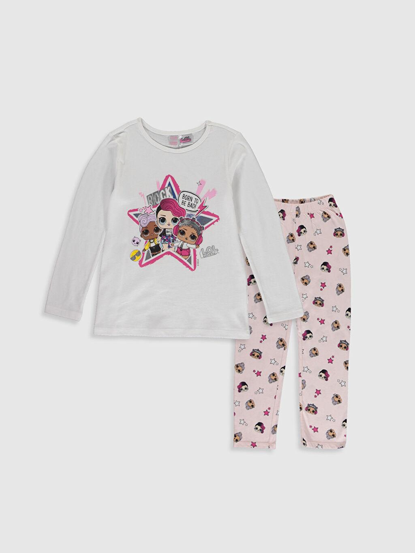 Beyaz Kız Çocuk Lol Bebek Baskılı Pamuklu Pijama Takımı 9WR143Z4 LC Waikiki