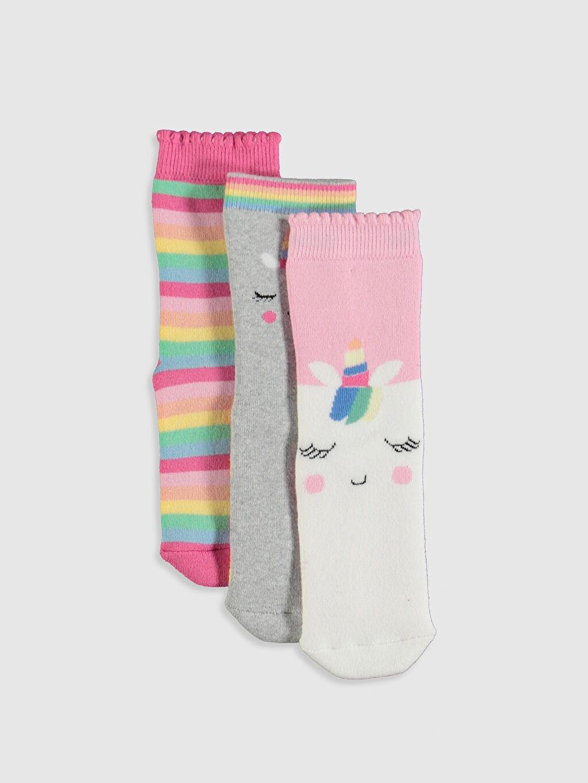 Pembe Kız Çocuk Havlu Soket Çorap 3'lü 9WR323Z4 LC Waikiki