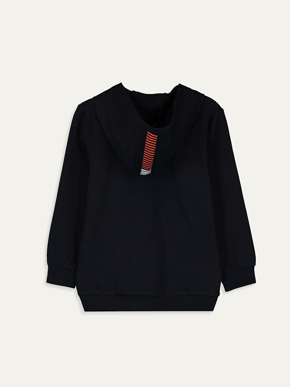 %79 Pamuk %21 Polyester  Erkek Çocuk Fermuarlı Kapüşonlu Sweatshirt