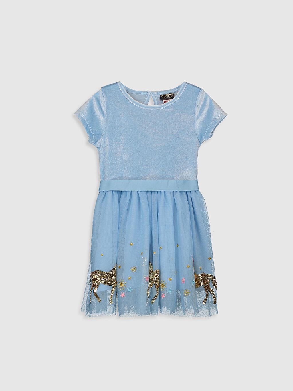 Mavi Kız Çocuk Pul İşlemeli Kadife Elbise 9WR468Z4 LC Waikiki