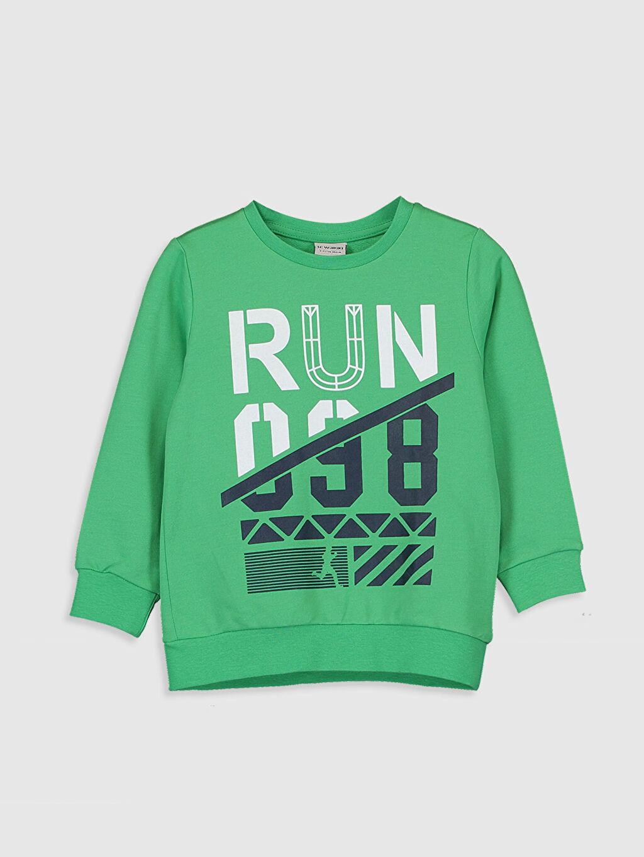 Yeşil Erkek Çocuk Baskılı Sweatshirt 9WR580Z4 LC Waikiki