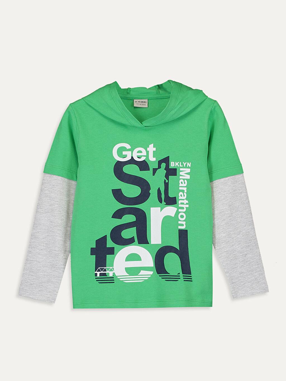 Yeşil Erkek Çocuk Kapüşonlu Pamuklu Tişört 9WR585Z4 LC Waikiki