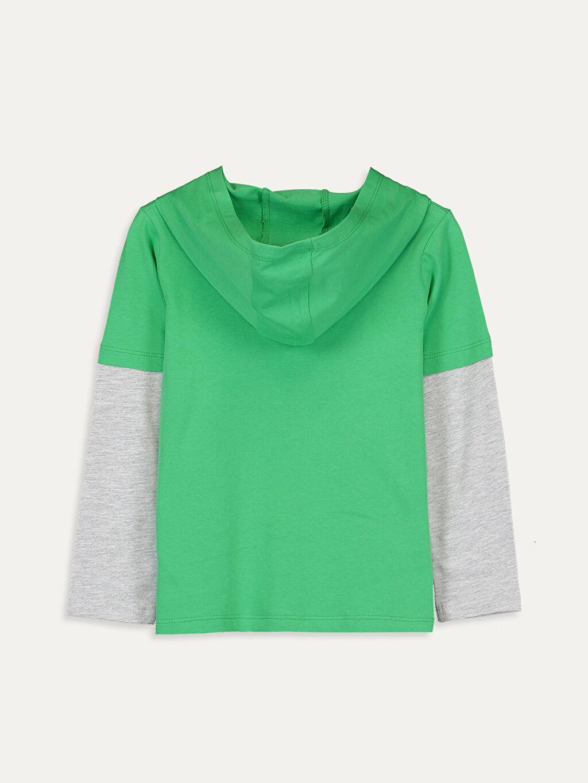 %100 Pamuk Tişört Uzun Kol Baskılı Dar Kapüşonlu Erkek Çocuk Kapüşonlu Pamuklu Tişört