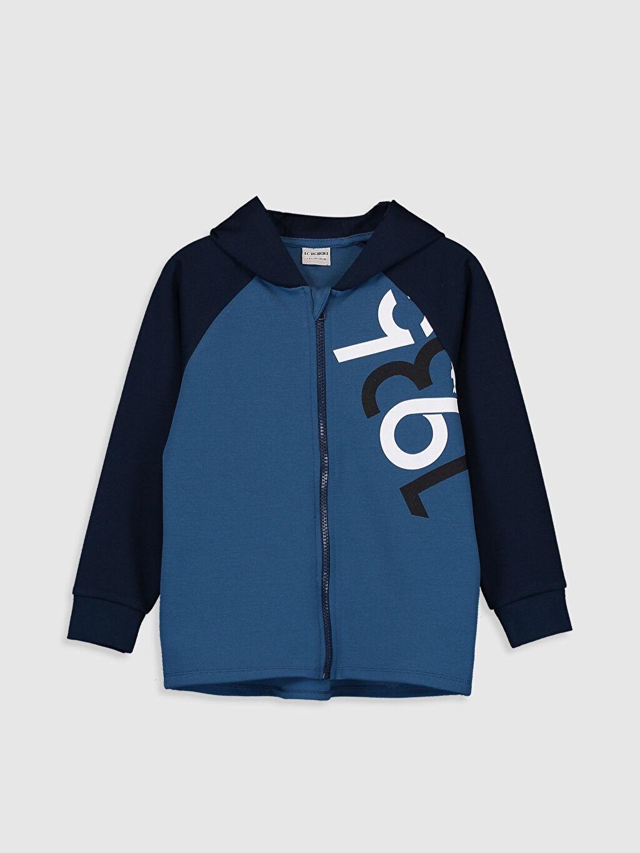 Mavi Erkek Çocuk Fermuarlı Kapüşonlu Sweatshirt 9WR587Z4 LC Waikiki