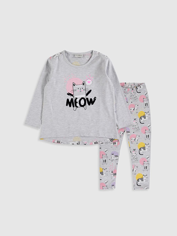 Ekru Kız Çocuk Baskılı Tişört ve Tayt 9WR795Z4 LC Waikiki