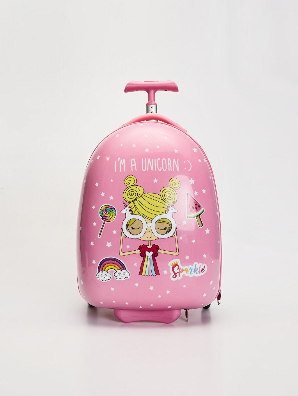 Pembe Kız Çocuk Desenli Çekçekli Valiz 9WS210Z4 LC Waikiki