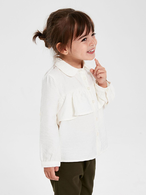 %14 Poliamid %86 Viskon Kız Bebek Fırfırlı Viskon Gömlek