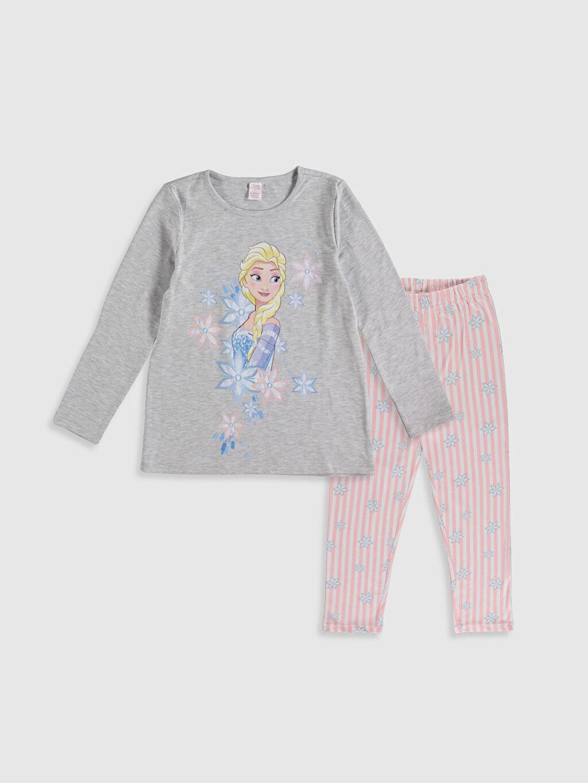 Gri Kız Çocuk Elsa Baskılı Pijama Takımı 9WS745Z4 LC Waikiki