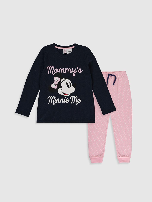 Lacivert Kız Çocuk Minnie Mouse Baskılı Pamuklu Pijama Takımı 9WS747Z4 LC Waikiki