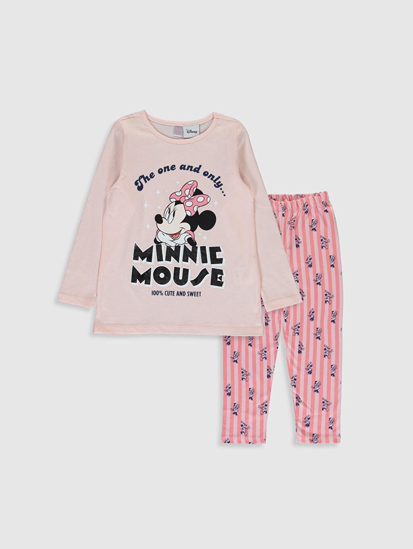 Pembe Kız Çocuk Minnie Mouse Baskılı Pamuklu Pijama Takımı 9WS751Z4 LC Waikiki