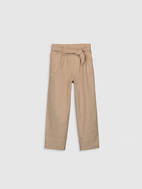 Bej Kız Çocuk Kuşaklı Gabardin Pantolon 9WS801Z4 LC Waikiki