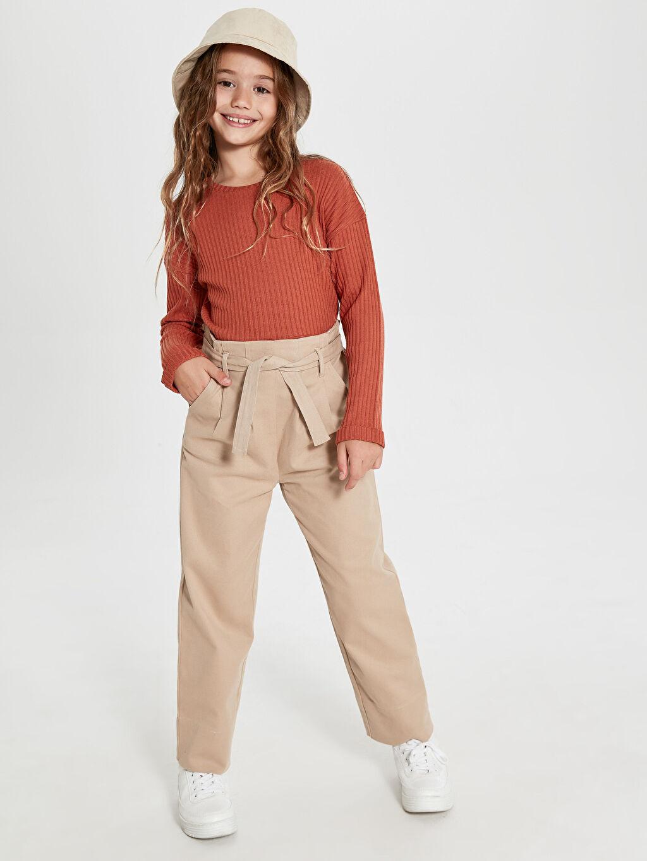 Kız Çocuk Kız Çocuk Kuşaklı Gabardin Pantolon