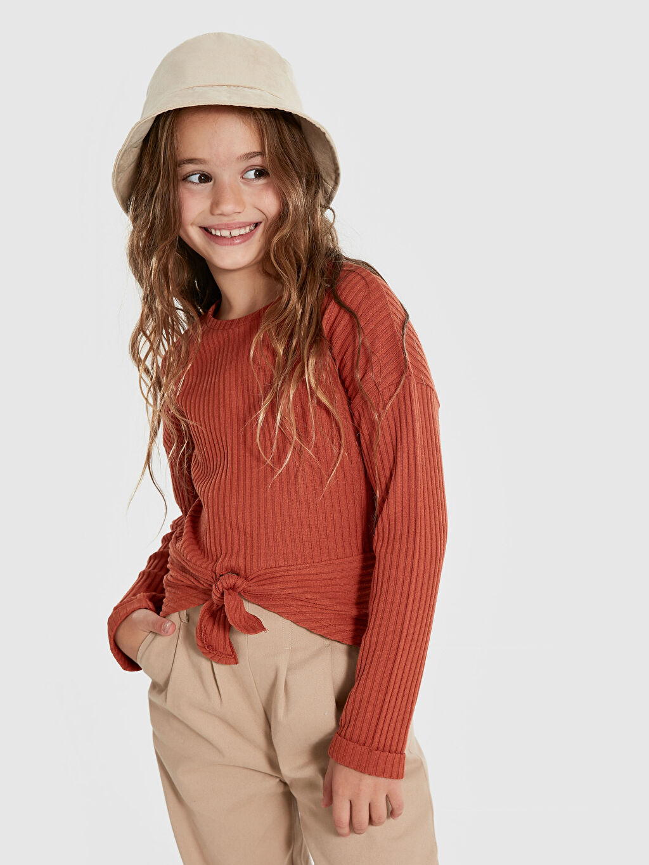 Kız Çocuk Kız Çocuk Bağlama Detaylı Tişört