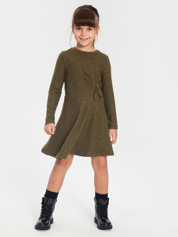 %16 Polyester %82 Viskoz %2 Elastan Diz Üstü Düz Kız Çocuk Büzgü Detaylı Uzun Kollu Elbise