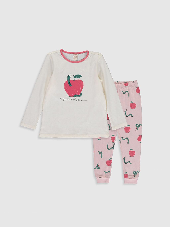 Ekru Kız Çocuk Baskılı Organik Pamuklu Pijama Takımı 9WT485Z4 LC Waikiki
